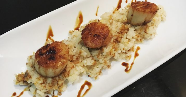 mushroom rice with grilled scallops and balsamic reduction